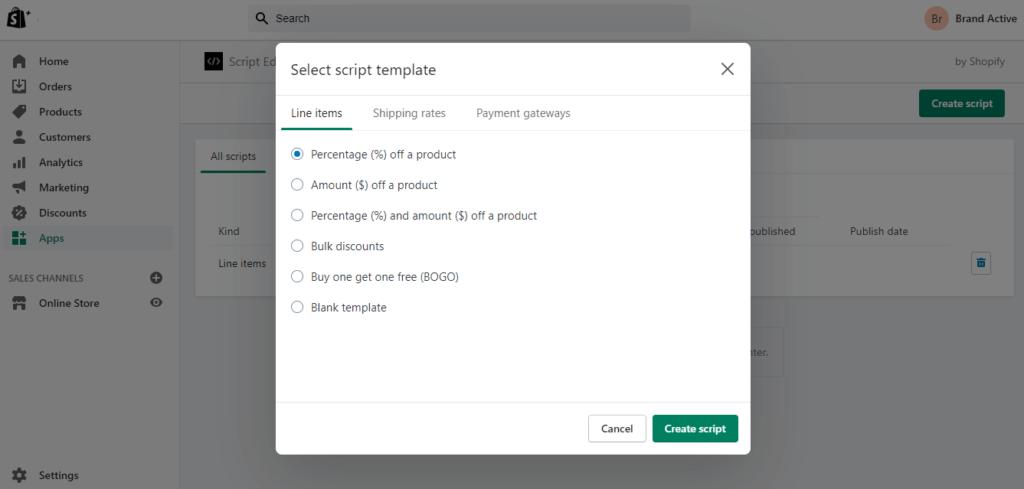 Shopify Scripts Editor